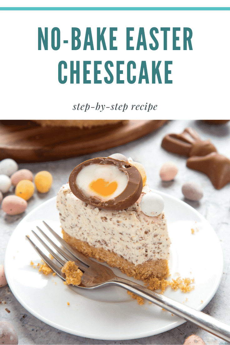 No-bake Easter cheesecake. The cheesecake is decorated with Easter chocolate and served on a white plate. The caption reads: No bake Easter cheesecake. Step-by-step recipe.