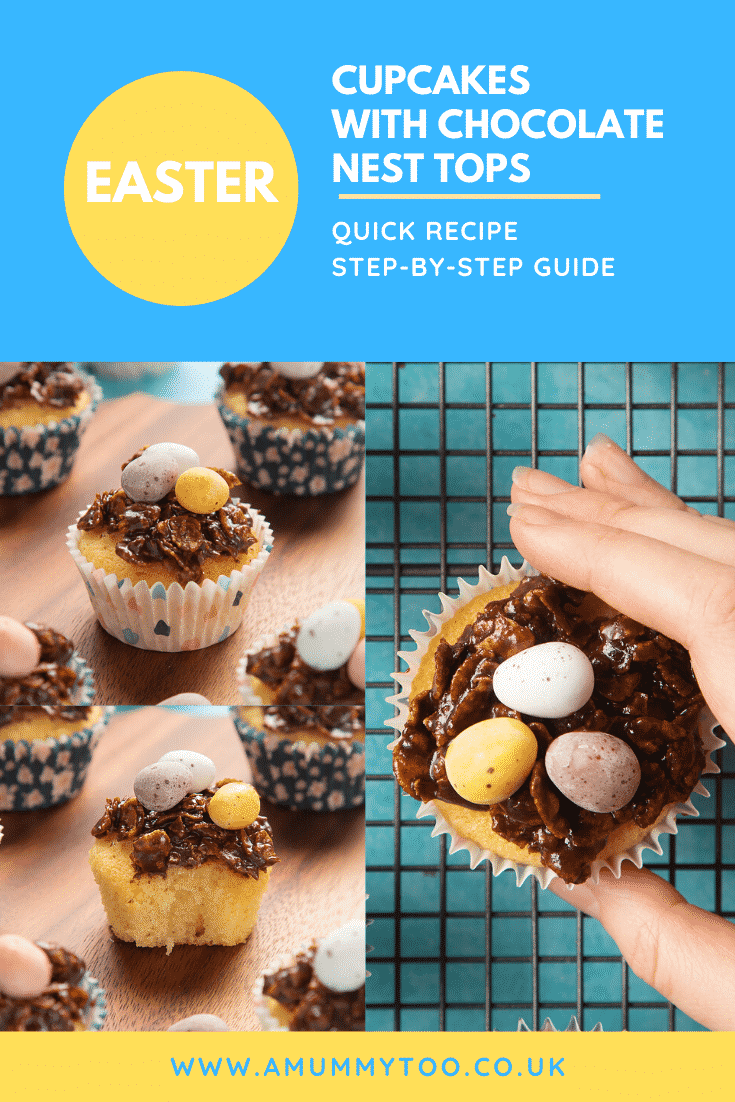 graphic text EASY CUPCAKES WITH CHOCOLATE NEST TOPS QUICK RECIPE STEP-BY-STEP GUIDE above a collage of two photos of easter nest chocolate cupcakes  with website URL below