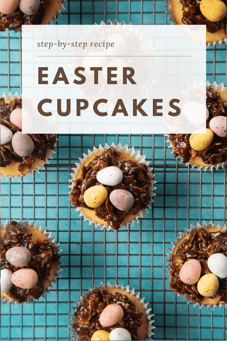 graphic text step-by-step recipe EASTER CUPCAKES above a hand holding a chocolate easter nest cupcake on a wiring rack