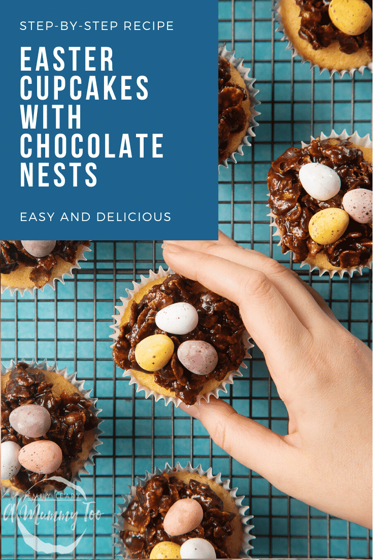 graphic text STEP-BY-STEP RECIPE EASTER CUPCAKES WITH CHOCOLATE NESTS EASY AND DELICIOUS above a hand holding an easter chocolateenest cupcakes