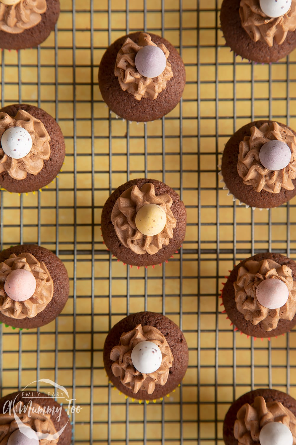 Overhead shot of a Mini chocolate cupcakes for Easter with a mummy too logo in the lower-left corner
