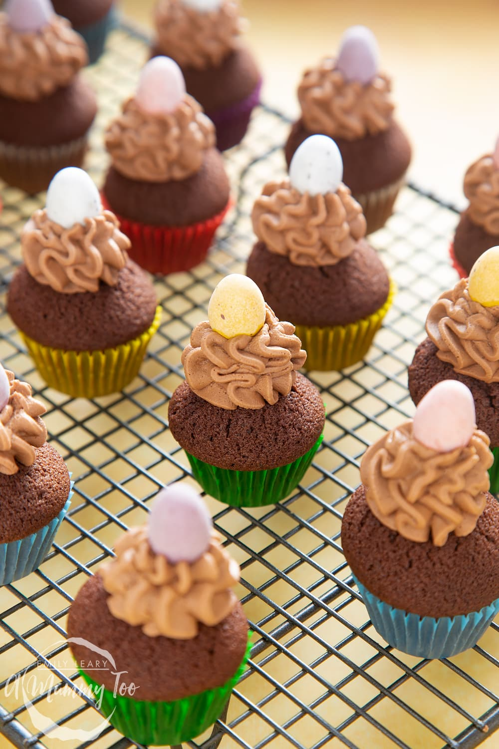 Front angle shot of Mini chocolate cupcakes for Easter topped with chocolate frosting and mini egg with a mummy too logo in the lower-left corner