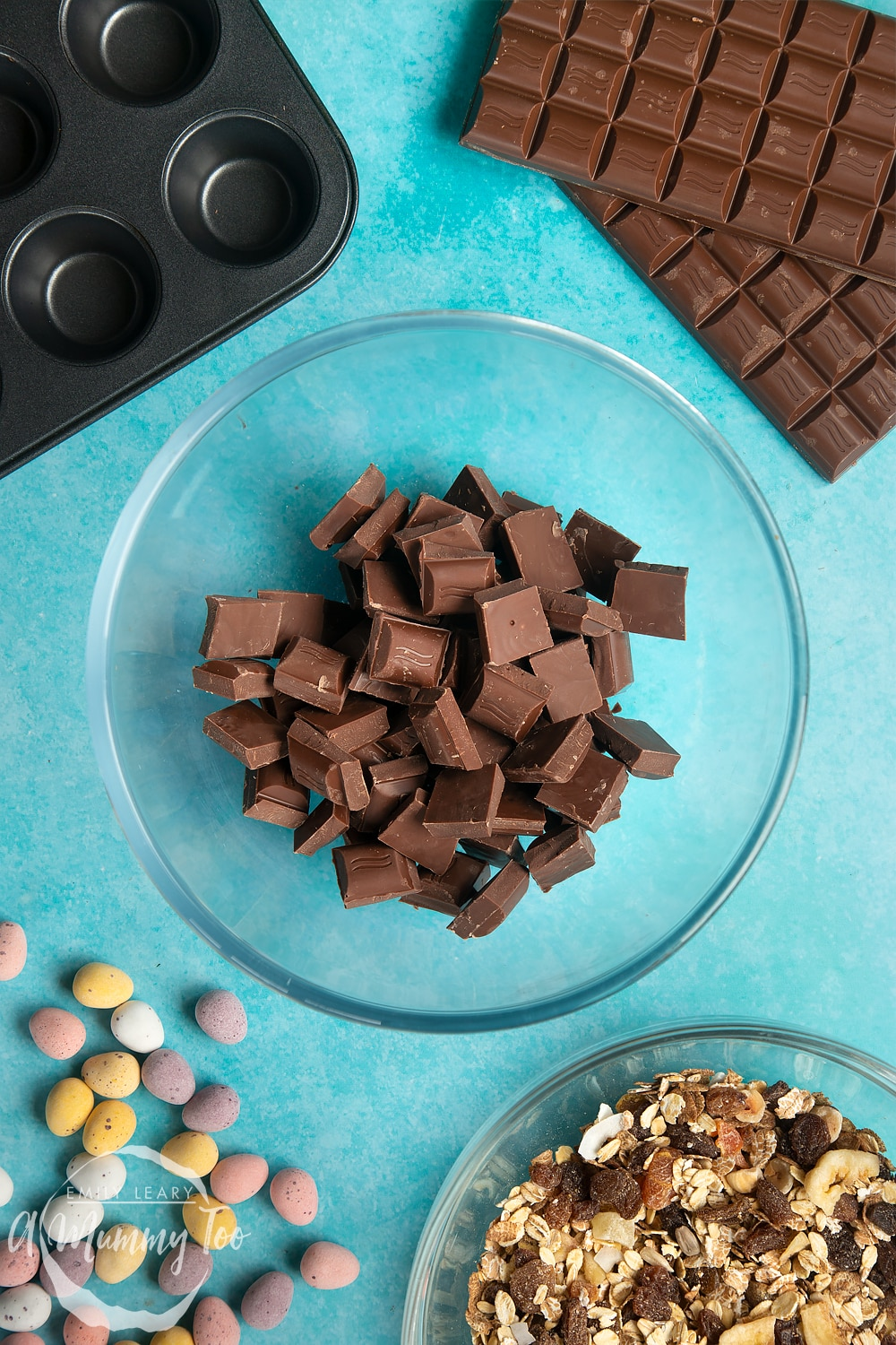 Overhead shot of chocolate in a microwave-safe bowl
