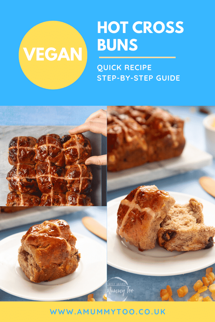 A collage of images of freshly baked vegan hot cross buns. Caption reads: vegan hot cross buns - quick recipe - step-by-step guide