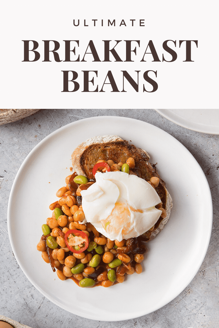 Breakfast beans with chilli, chickpeas and edamame served on sour dough toast with a poached egg on top. Caption reads: ultimate breakfast beans.