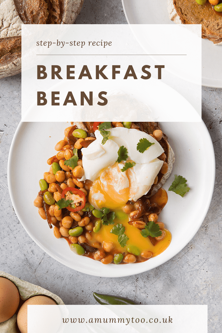 Breakfast beans with chilli, chickpeas and edamame served on sour dough toast with a poached egg on top. Caption reads: step-by-step recipe breakfast beans.