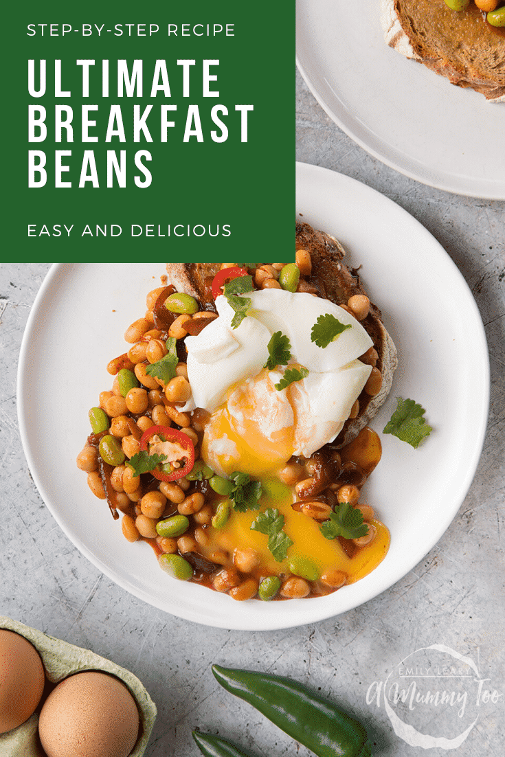 Breakfast beans with chilli, chickpeas and edamame served on sour dough toast with a poached egg on top. Caption reads: step-by-step recipe ultimate breakfast beans easy and delicious