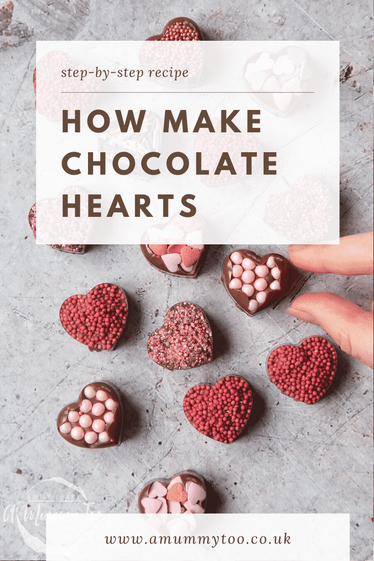 graphic text  step-by-step recipe HOW TO MAKE CHOCOLATE HEARTS above Front angle shot of a hand holding a chocolate heart with website URL below