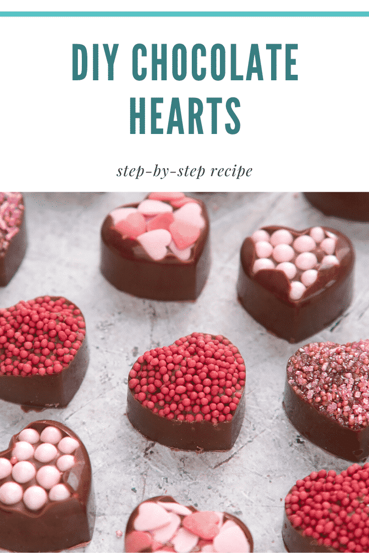 graphic text DIY CHOCOLATES HEART step-by-step recipe above Front angle shot of diy heart chocolates