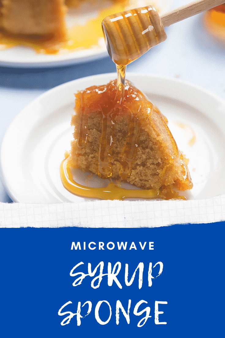 Graphic text MICROWAVE SYRUP SPONGE above front angle shot of a slice of sponge pudding drizzled with syrup with website URL below