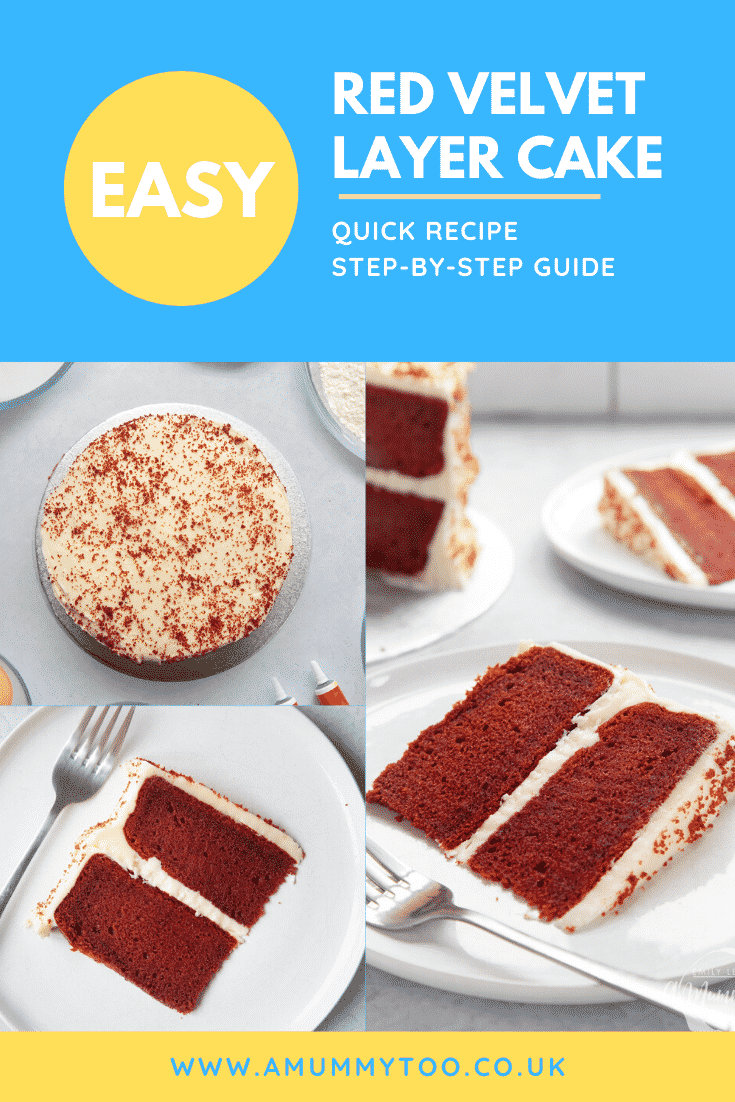 A collage of images showing filled red velvet cake - both whole and served in slices. Caption reads: Easy red velvet layer cake quick recipe step by step guide.