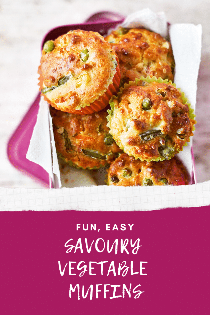 Several savoury vegetable muffins in a pink lunchbox lined with paper on a wooden background. The caption reads: fun, easy vegetable muffins