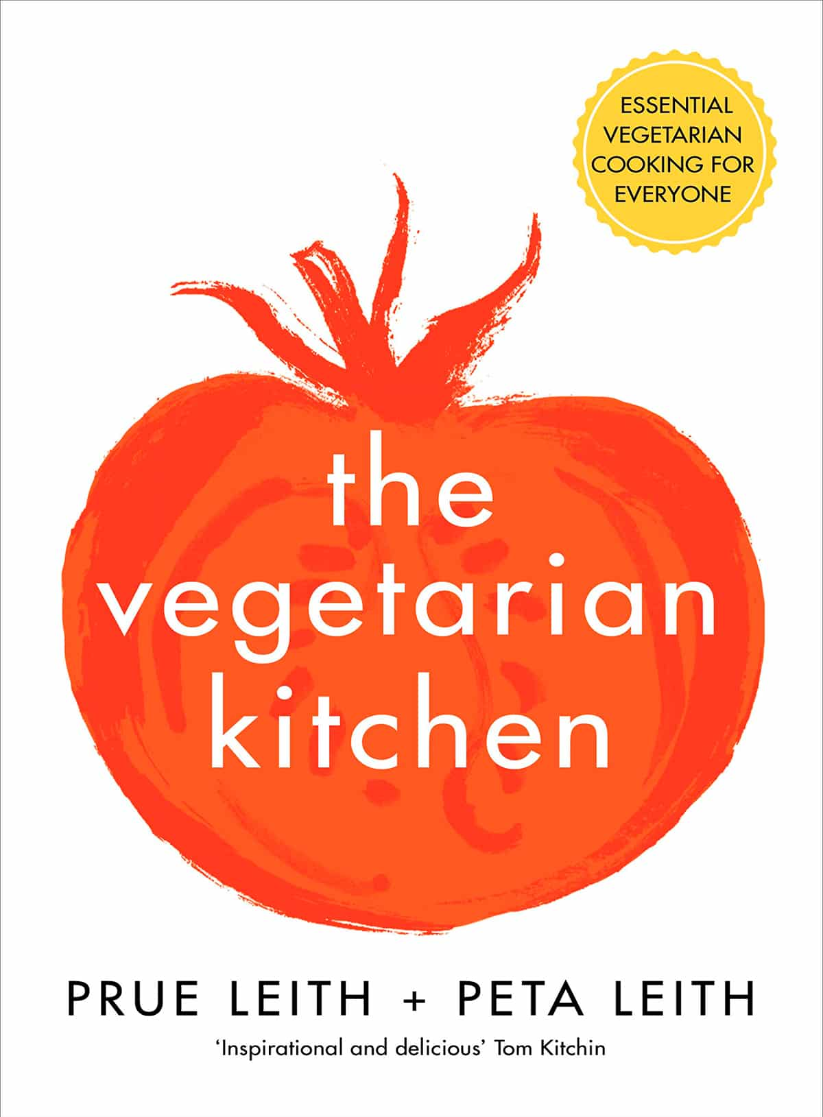 The Vegetarian Kitchen book cover, which depicts the title over an illustration of a tomato.