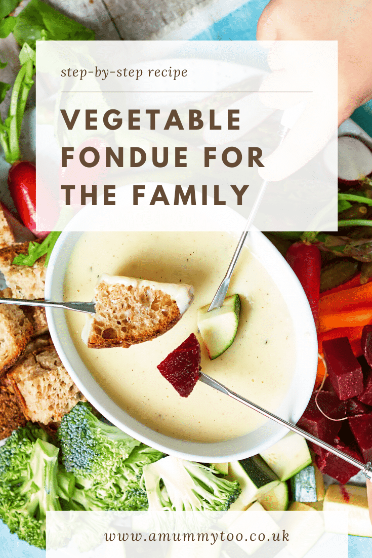 A vegetable fondue platter on a blue background. A family of hands reach in with fondue forks to dip bread, beetroot, courgette into cheese sauce. The caption reads: step-by-step recipe vegetable fondue for the family