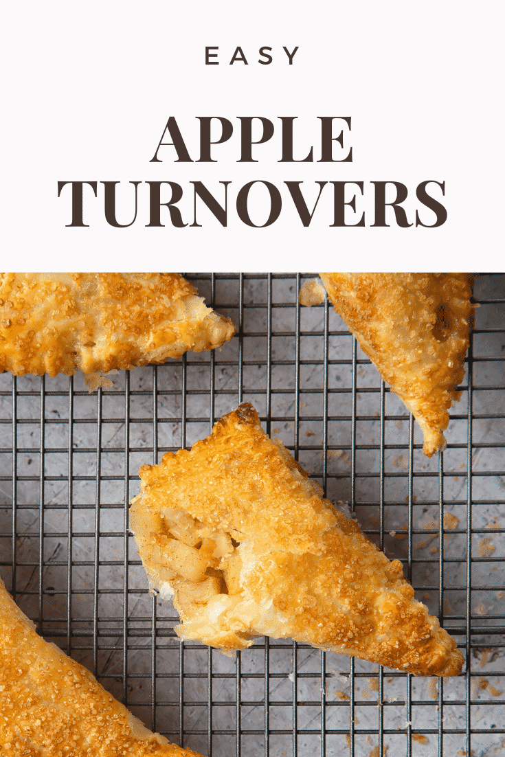 Overhead shot of apple turnovers on a cooling rack. With some text at the top of the image describing it for Pinterest.