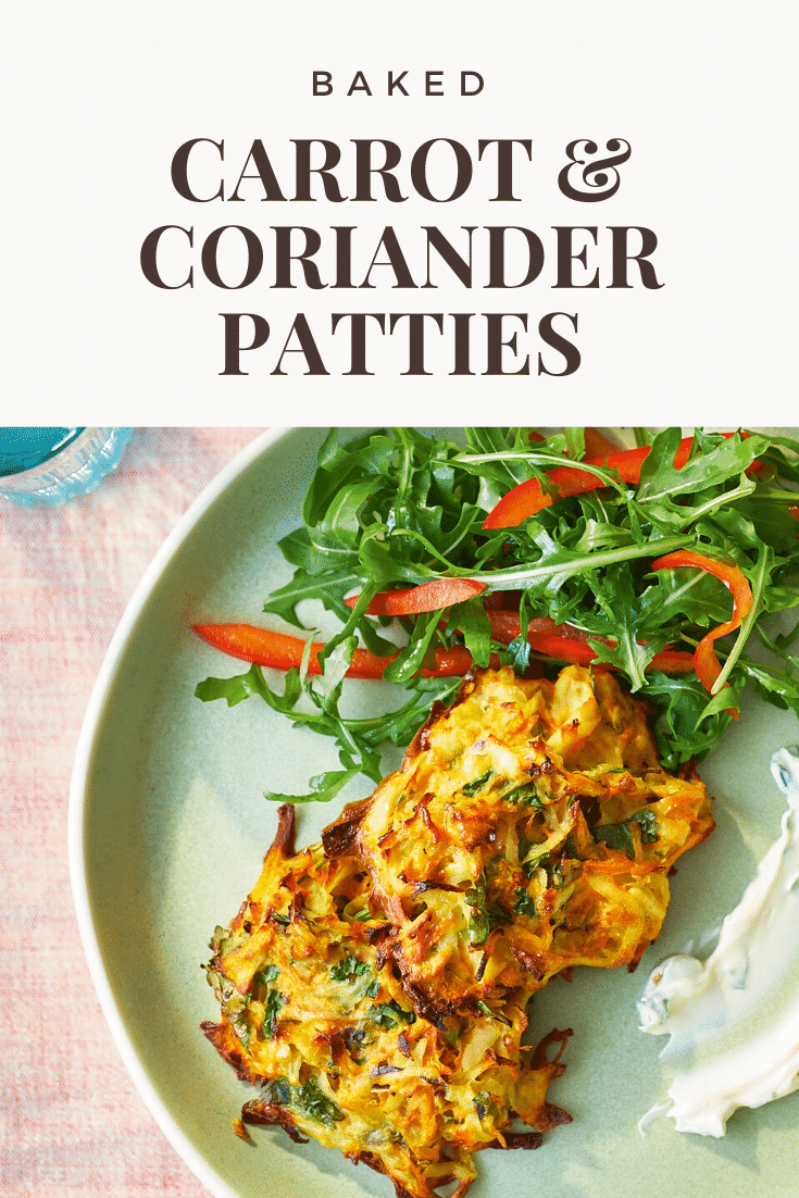 Carrot patties on a green plate with a rocket and pepper salad. The caption reads: Baked carrot & coriander patties