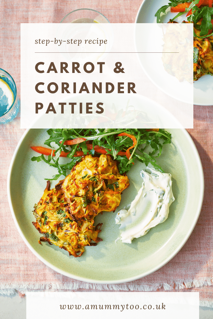 Carrot patties on a green plate with a rocket and pepper salad. The caption reads: step-by-step recipe carrot & coriander patties