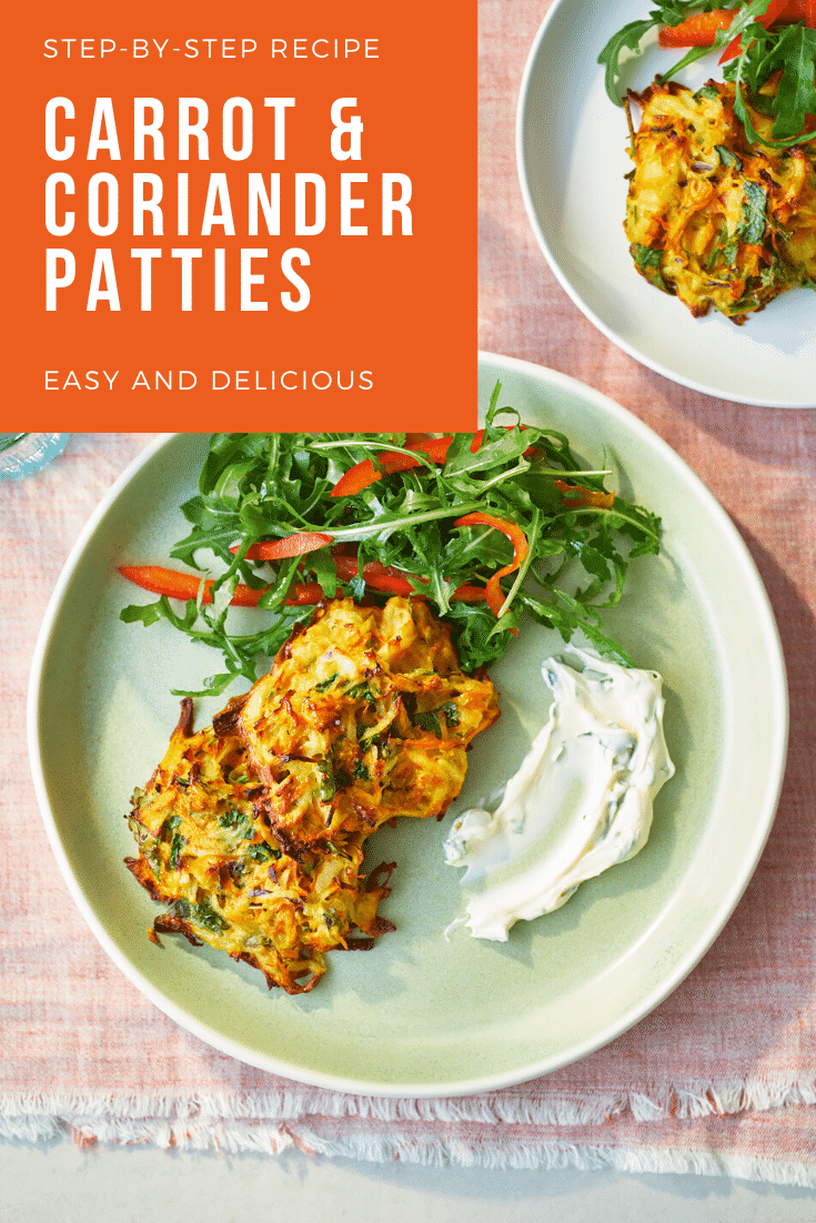 Carrot patties on a green plate with a rocket and pepper salad. The caption reads: step-by-step recipe carrot & coriander patties - easy and delicious