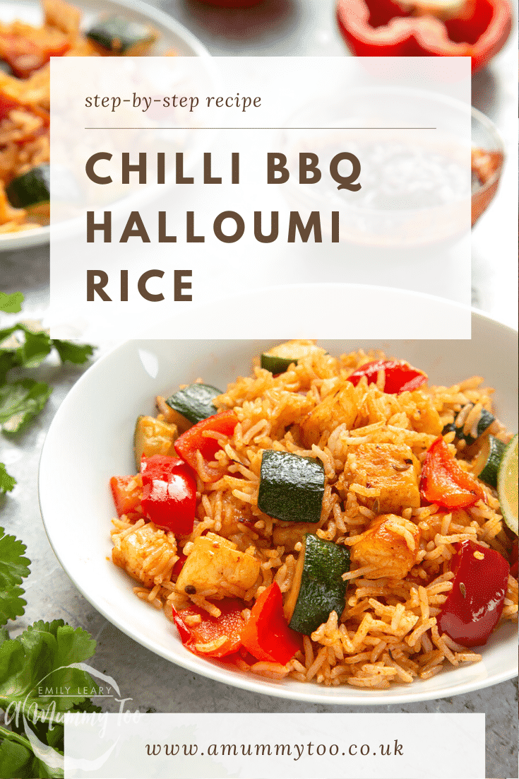 graphic text step-by-step recipe CHILLI BBQ HALLOUMI RICE above Front angle shot spicy bbq rice with website URL below