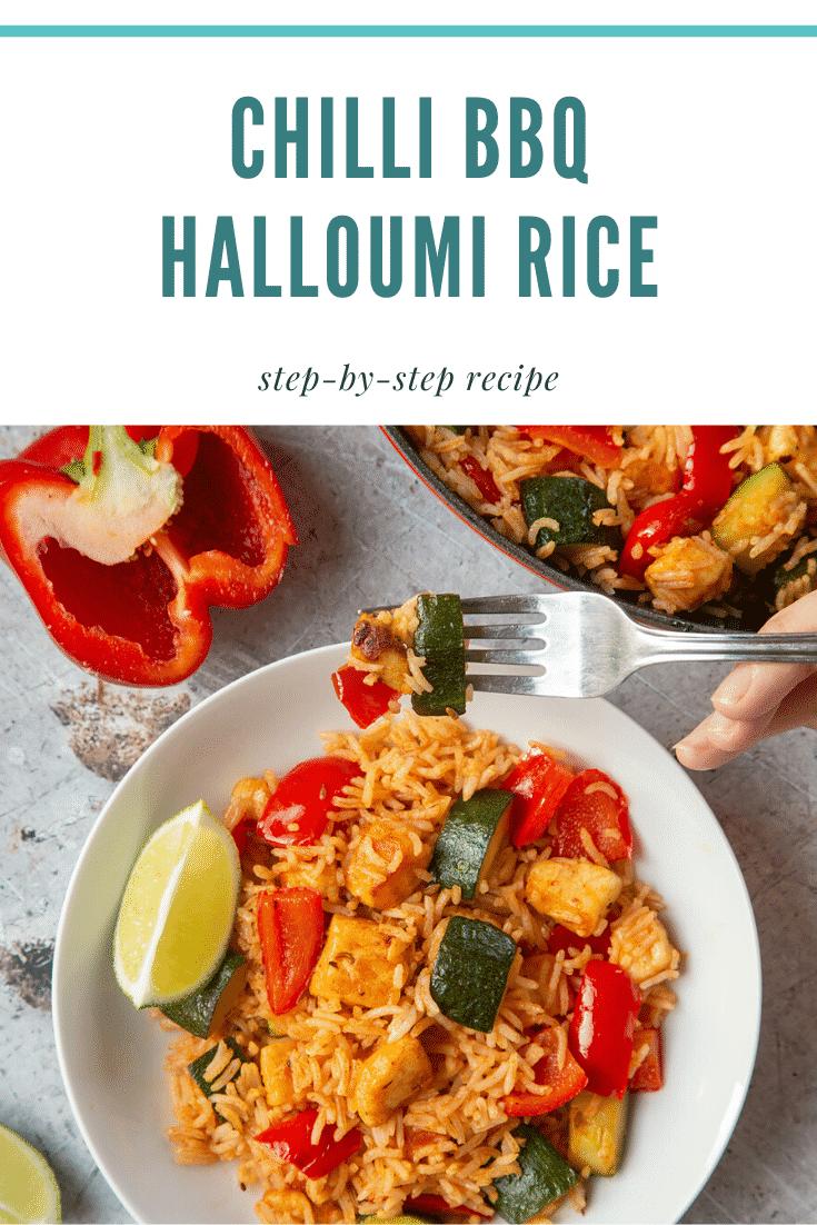 graphic text CHILLI BBQ HALLOUMI RICE step-by-step recipe above overhead shot of chilli bbq halloumi rice