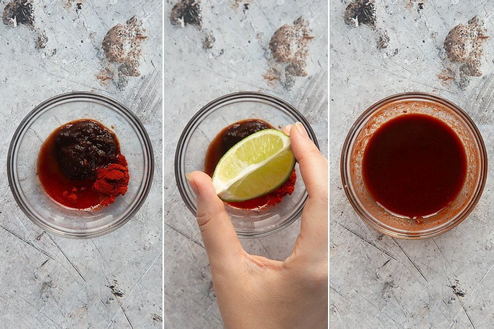 Colage of three photos of mix the chipotle chilli sauce, maple syrup, smoked paprika and lime juice in a clear bowl and a hand squeezing a lime