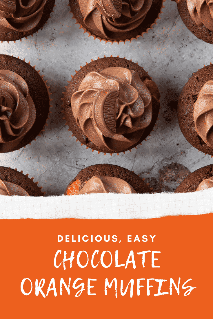 Overhead shot of chocolate orange muffins topped with chocolate orange bars above graphic text DELICIOUS, EASY CHOCOLATE ORANGE MUFFINS
