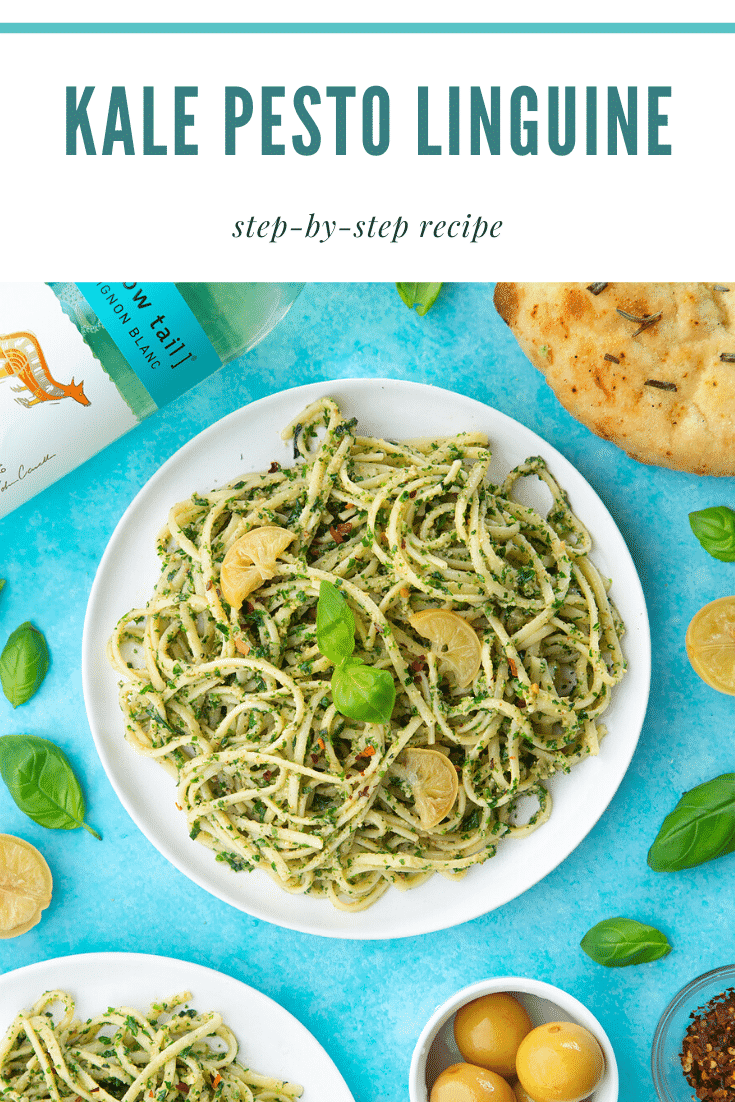 A white plate with kale pesto linguine, topped with basil and slices of preserved lemons. Ingredients surround the plate. A caption reads: kale pesto linguine step-by-step recipe