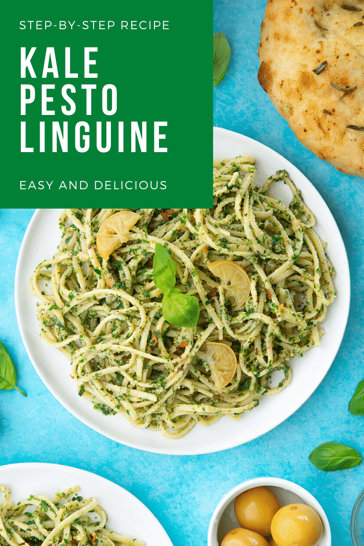 A white plate with kale pesto linguine, topped with basil and slices of preserved lemons. A caption reads: step-by-step recipe kale pesto linguine easy and delicious