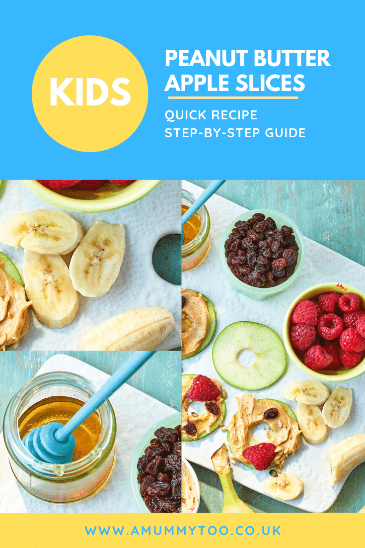 A collage of images showing how to make apple slices with peanut butter. The caption reads: Kids peanut butter apple slices - quick recipe - step-by-step guide.