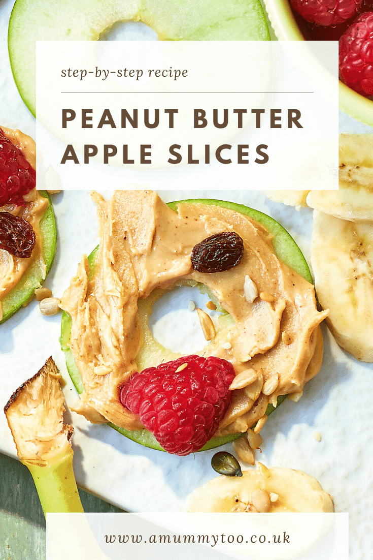 An apple slice topped with peanut butter surrounded by other topping ingredients. The caption reads: step-by-step recipe peanut butter apple slices.