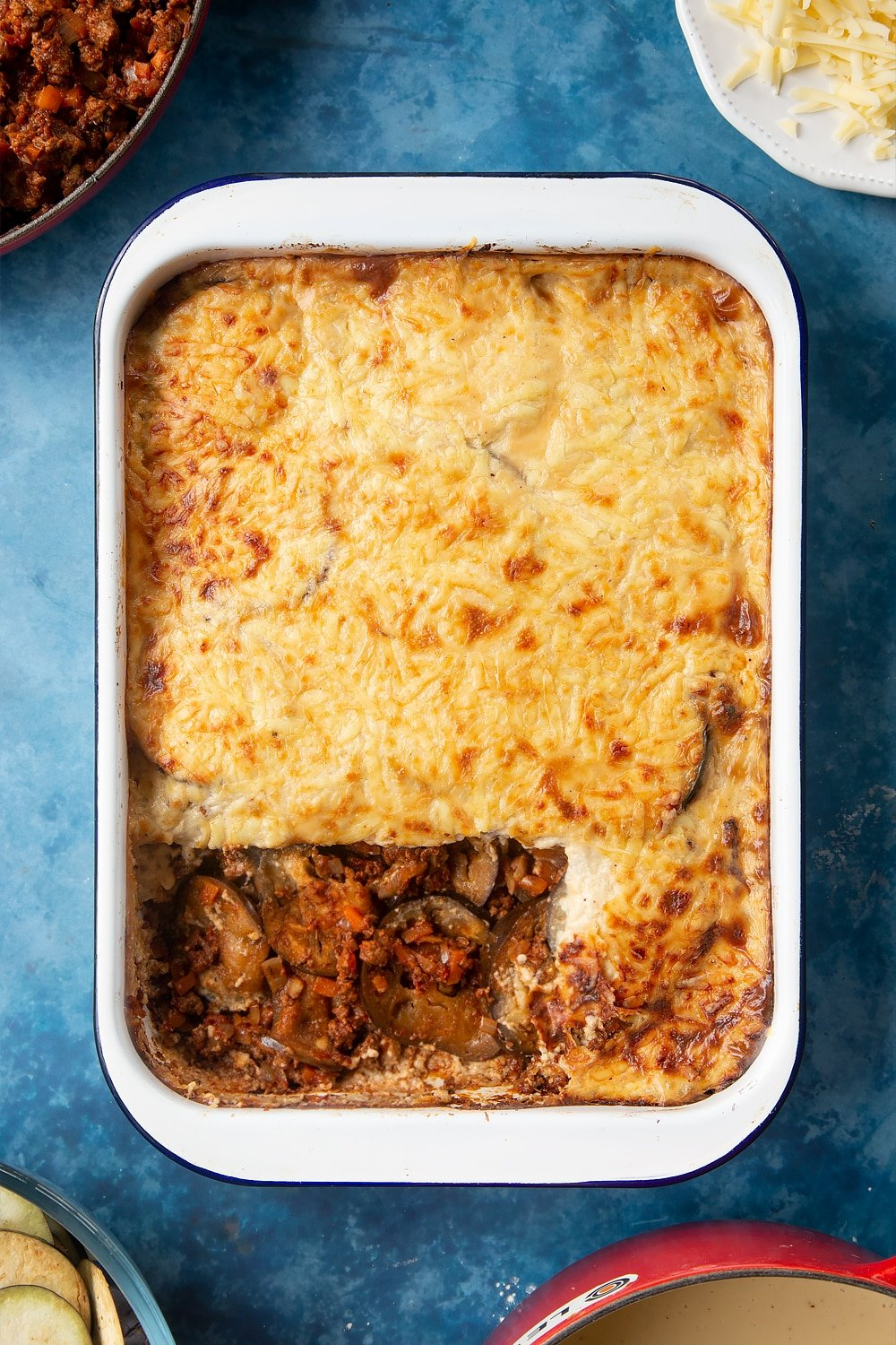 Overhead shot of Quorn Meat Free Mince Moussaka served on a large white roasting tray
