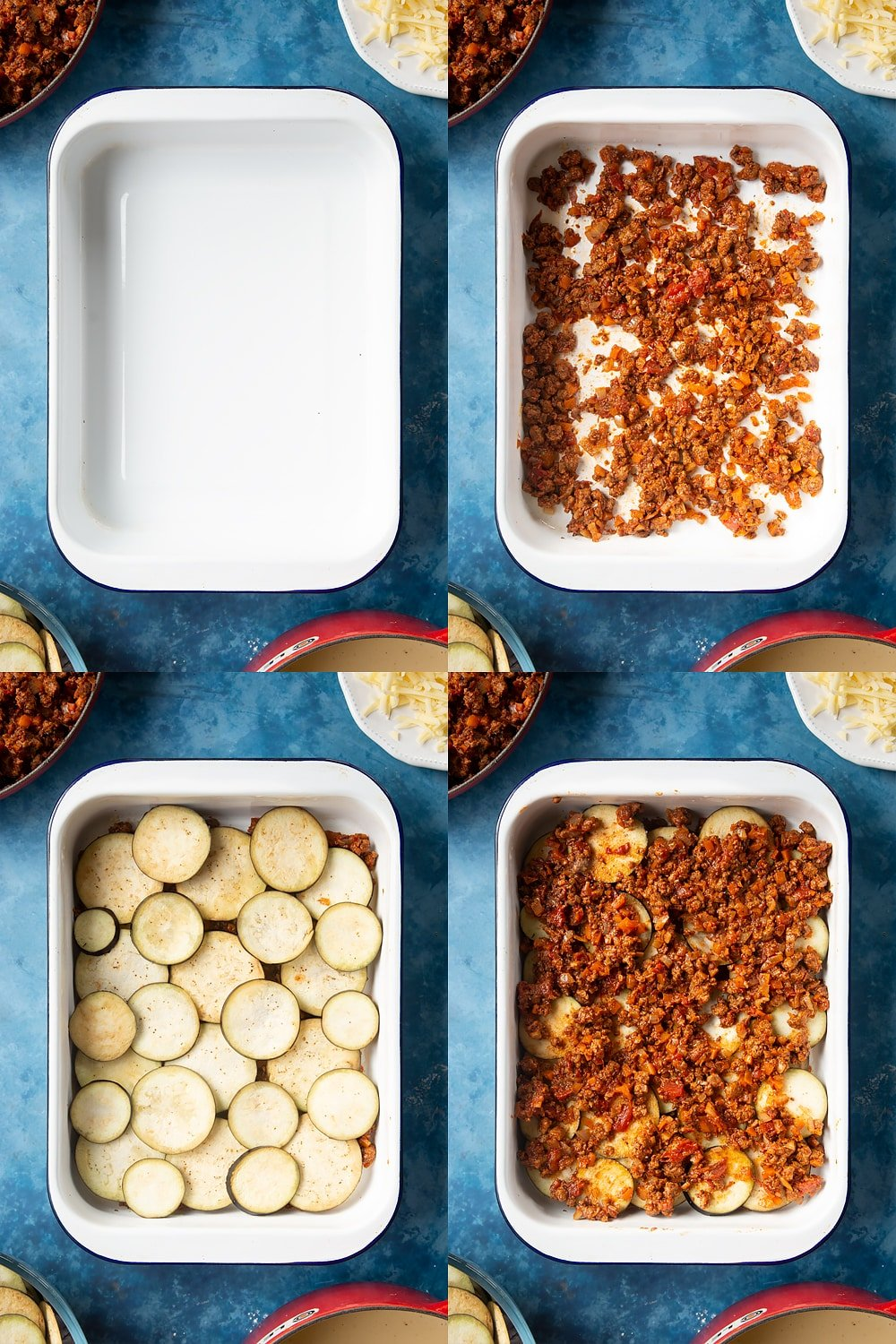 collage of four photos of overhead shots of a large white roasting tray, mince on a large white roasting tray, aubergine slices on a large white roasting tray, and mince on top of aubergine on a large white roasting tray