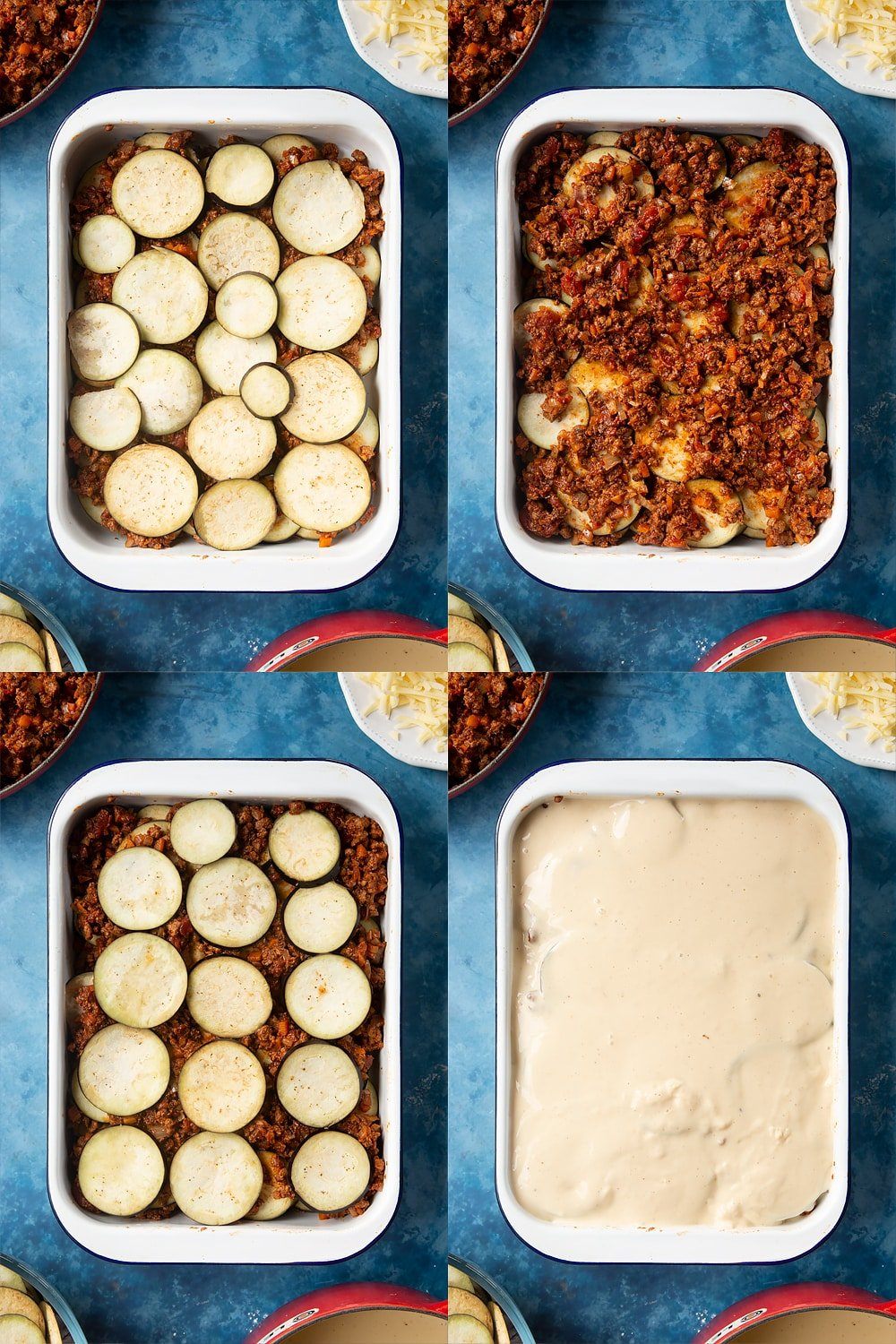 collage of four photos of overhead shots of aubergine on top of mince on a large white roasting tray, mince on top of aubergine on a large white roasting tray, aubergine on top of mince on a large white roasting tra,y and quorn meat free mince moussaka covered with white sauce on a large white roasting tray