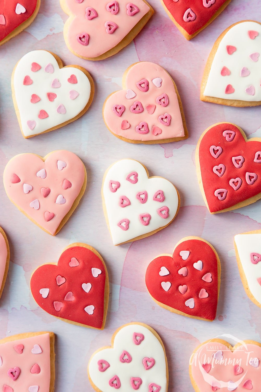Overhead shot of heart shaped biscuits for Valentines day