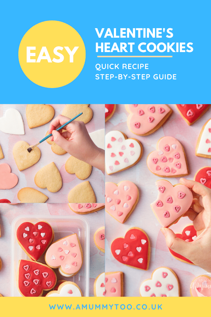 graphic text EASY VALENTINE'S DAY COOKIES QUICK RECIPE STEP-BY-STEP GUIDE above  collage of three photos of valentines day cookies with website URL below