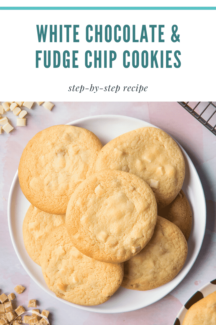 graphic text WHITE CHOCOLATE & FUDGE CHIP COOKIES step-by-step recipe above overhead shot of white chocolate & fudge chip cookies
