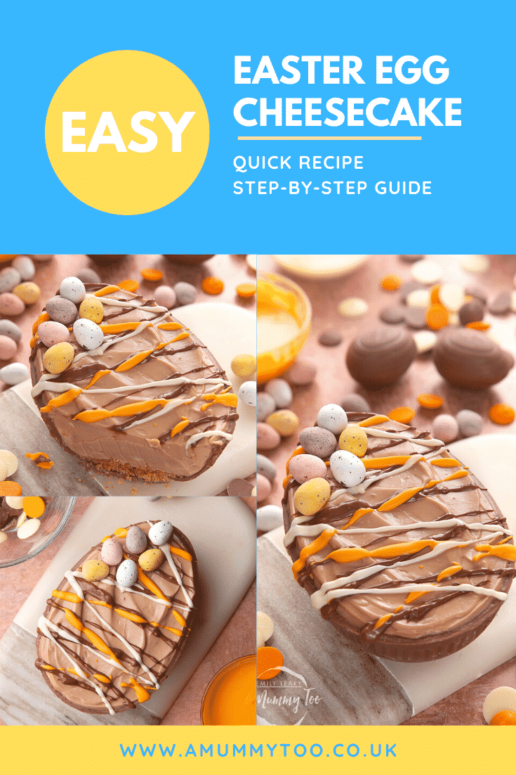 A collage of images showing an Easter Egg cheesecake, decorated with drizzled chocolate and mini eggs. The caption reads: Easy easter egg cheesecake. Quick recipe. Step-by-step guide.