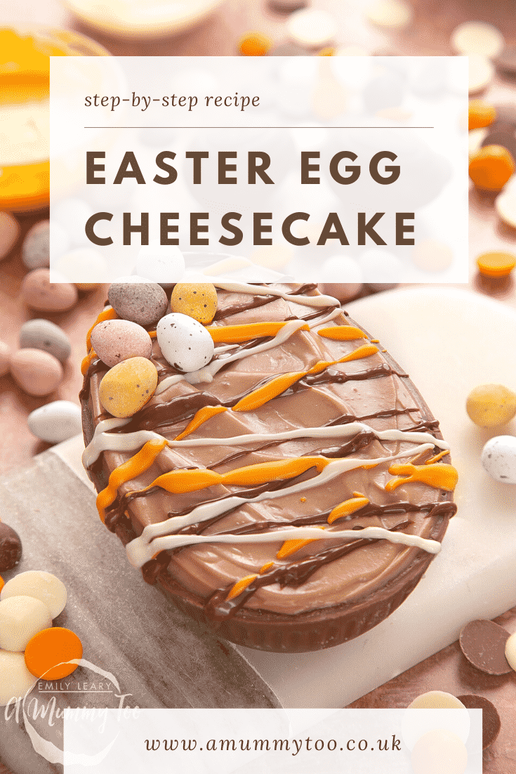 An Easter Egg cheesecake, decorated with drizzled chocolate and mini eggs. The caption reads: Step-by-step recipe. Easter egg cheesecake.