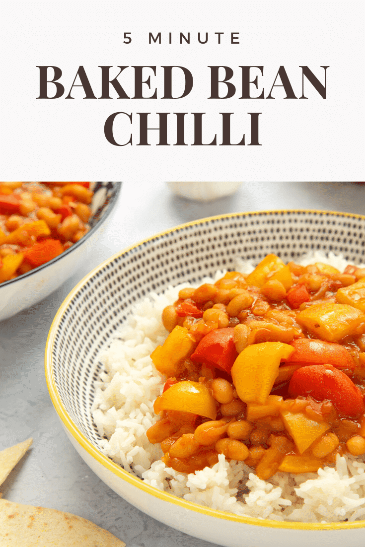 A 5 minute baked bean chilli served on a bed of rice in a bowl. Caption reads: 5 minute baked bean chilli.