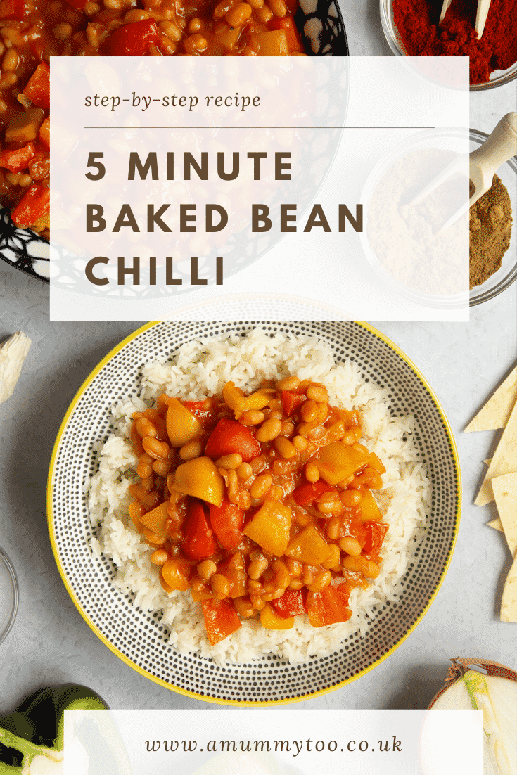 A 5 minute baked bean chilli served on a bed of rice in a bowl, shown from above. Caption reads: step-by-step recipe - 5 minute baked bean chilli.