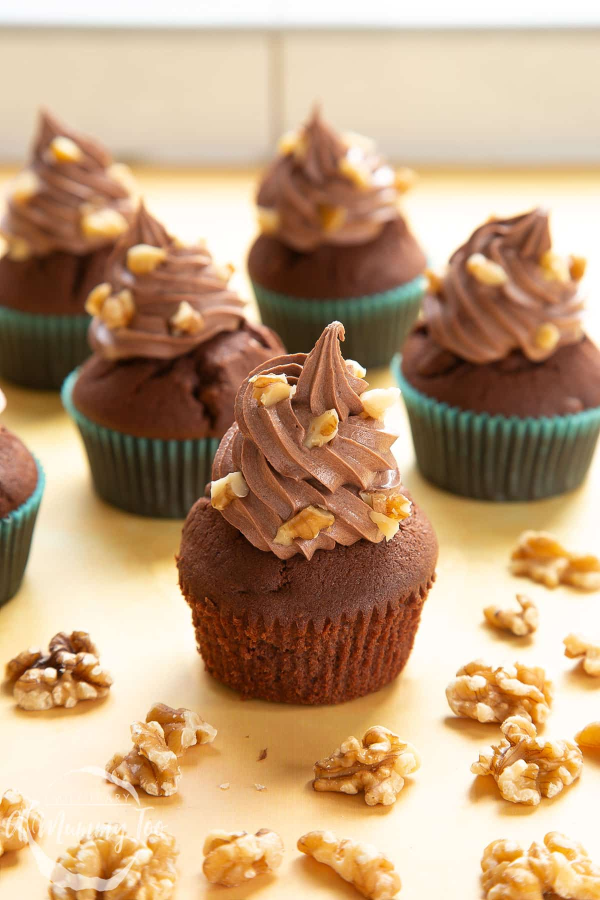 Chocolate walnut cupcakes decorated with creamy chocolate frosting. Walnuts are scattered around the cupcakes. The cupcake in the fore has been unwrapped from its case.