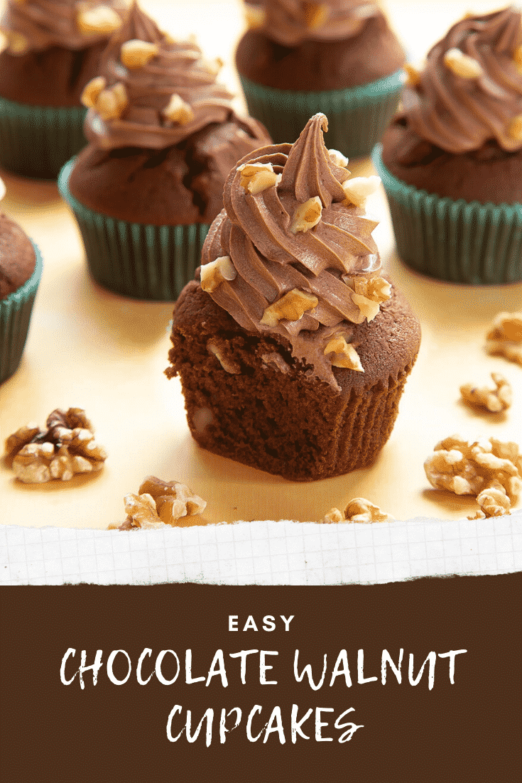 Chocolate walnut cupcakes decorated with creamy chocolate frosting. The cupcake at the fore has been cut open to show the inside. Caption reads: Easy chocolate walnut cupcakes