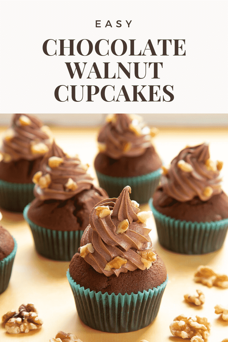 Chocolate walnut cupcakes. The cupcake at the fore has been cut open to show the inside. Caption reads: Easy chocolate walnut cupcakes
