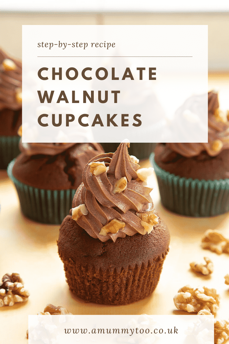 Chocolate walnut cupcakes decorated with creamy chocolate frosting. The cupcake at the fore has unwrapped. Caption reads: Step-by-step recipe chocolate walnut cupcakes