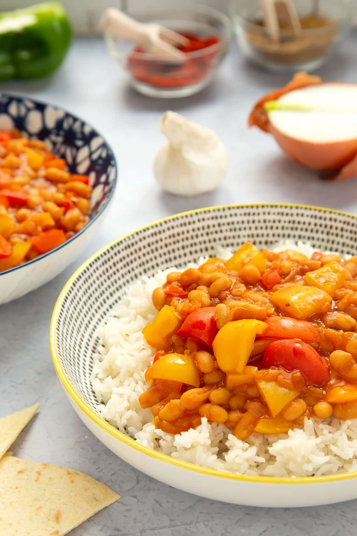 Baked bean chilli served on rice.