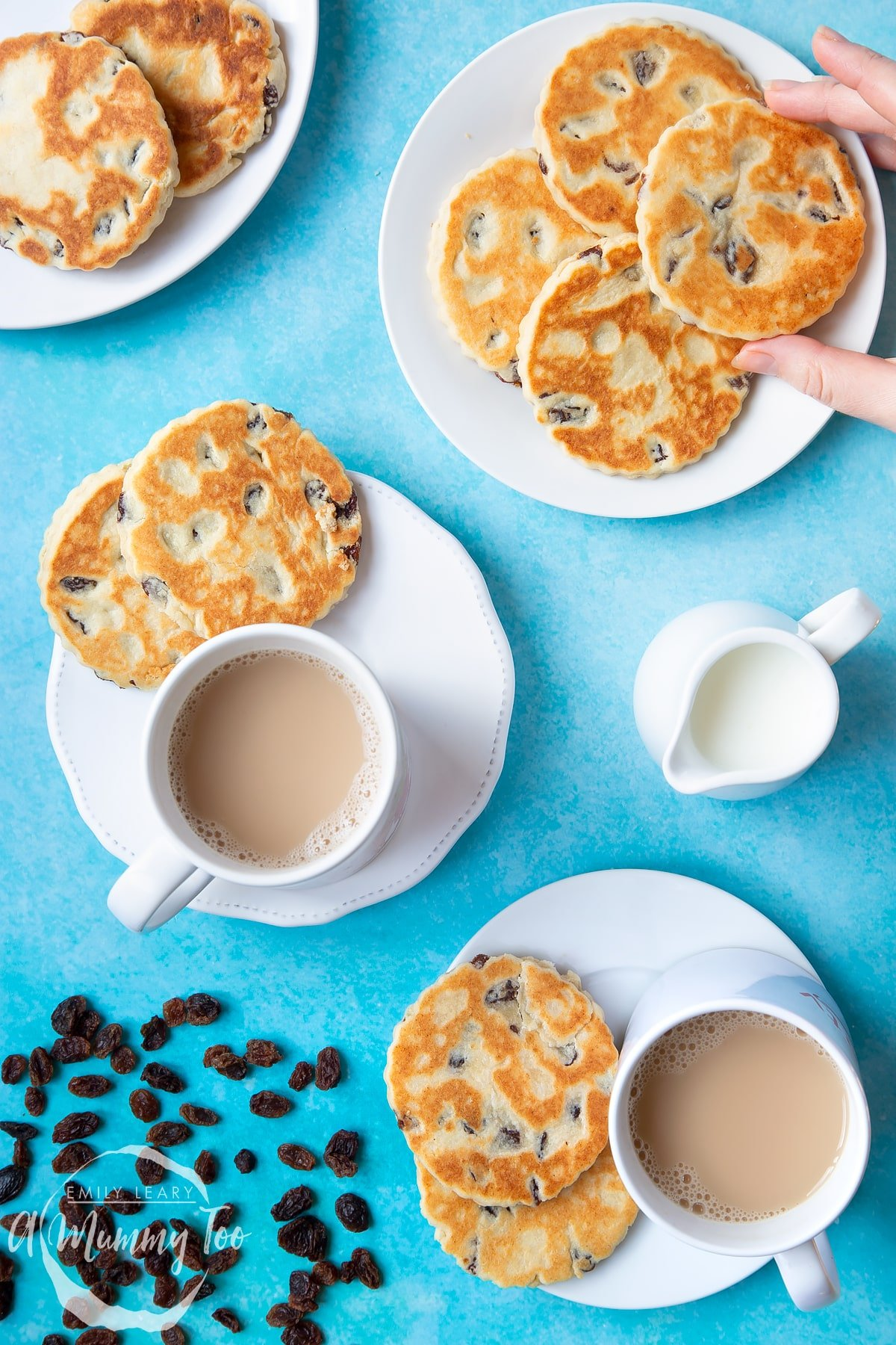 A collage of images showing Welsh cakes being prepared. In the main images Welsh cakes site on a number of white plates with cups of tea. The Caption reads: easy traditional welsh cakes - quick recipe - step-by-step guide