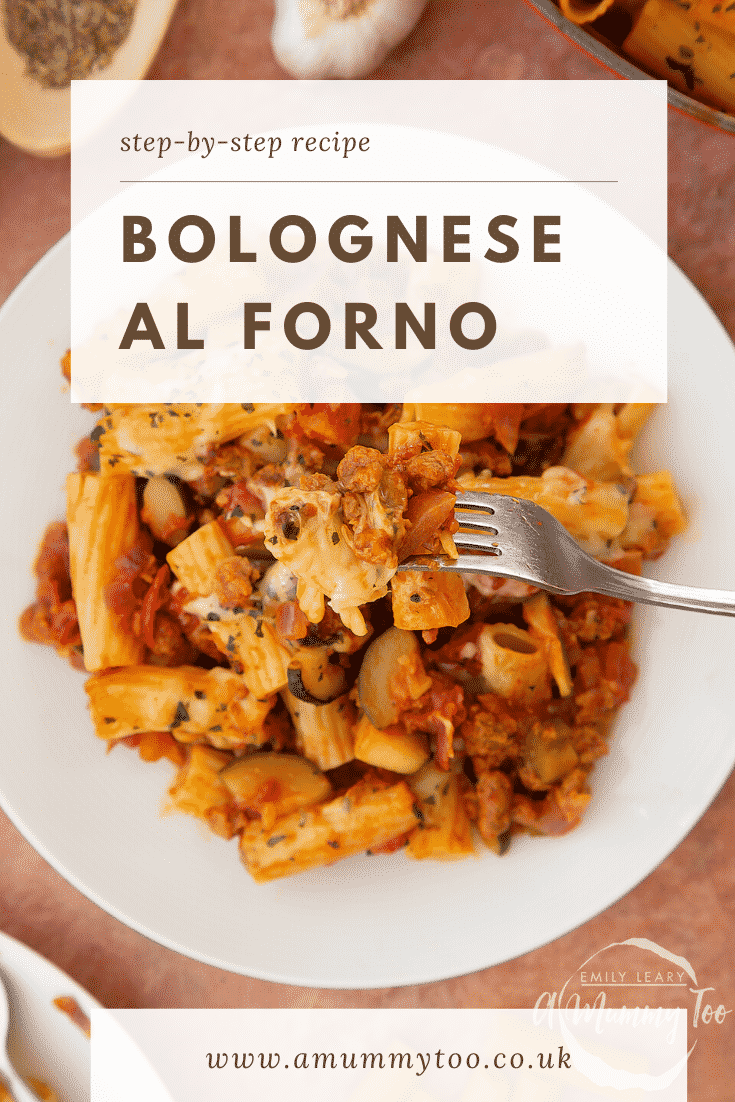 Freshly baked bolognese al forno served to a plate. A fork lifts some pasta. Caption reads: Step-by-step recipe bolognese al forno
