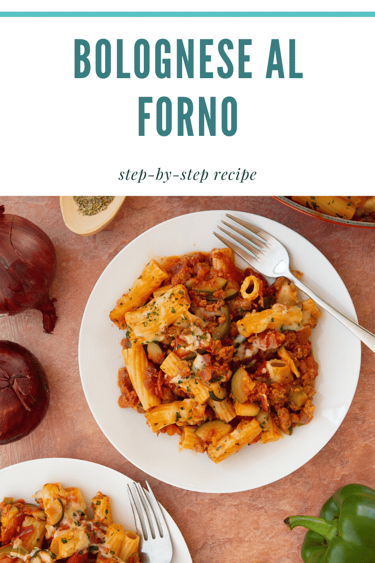 Freshly baked bolognese al forno served to two plates. Caption reads: bolognese al forno step-by-step recipe