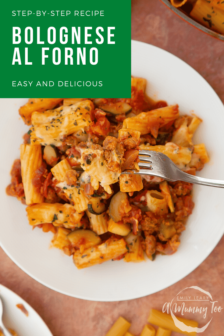 Freshly baked bolognese al forno served to a plate. A fork lifts some pasta. Caption reads: Step-by-step recipe bolognese al forno easy and delicious