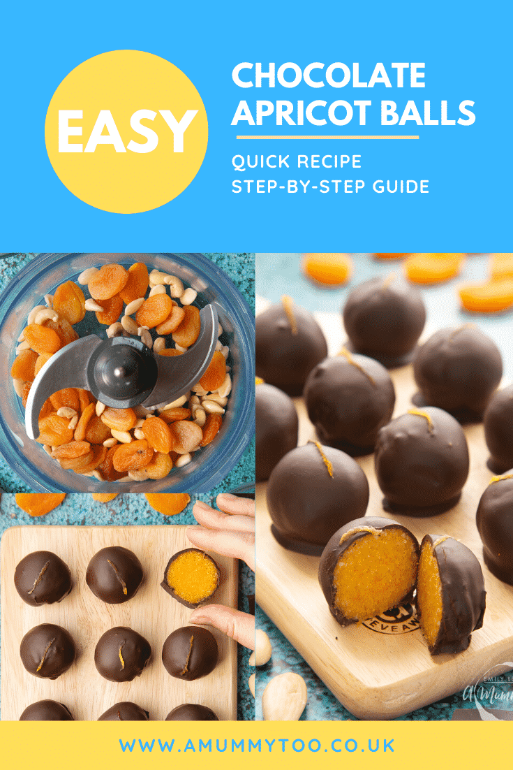 Collage of images showing the making of chocolate apricot balls. Caption reads: Easy chocolate apricot balls - quick recipe - step-by-step guide.